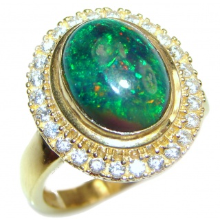 Vintage Design 18ctw Genuine Black Opal 24K Gold over .925 Sterling Silver handmade Ring size 7 1/4