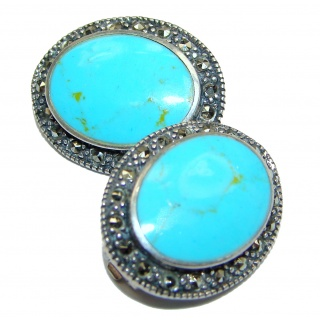 Solid Blue Turquoise .925 Sterling Silver clip on earrings