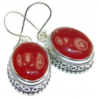 Perfect genuine Orange Carnelian .925 Sterling Silver handmade earrings