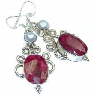 Victorian Style Ruby .925 Sterling Silver earrings