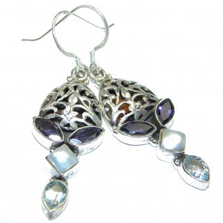 Blue Iolite .925 Sterling Silver handmade earrings