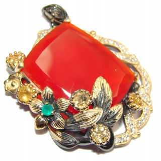 Incredible vintage style Carnelian 18K Gold over .925 Sterling Silver handmade Pendant