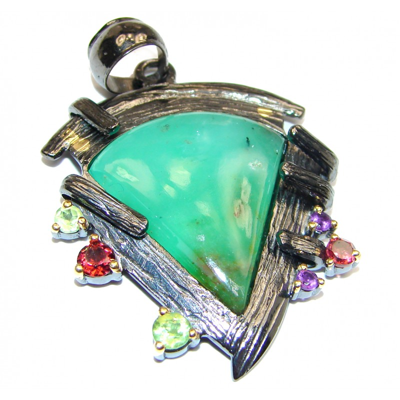 Exquisite Green Chrysophrase 18K Gold over .925 Sterling Silver handmade Pendant