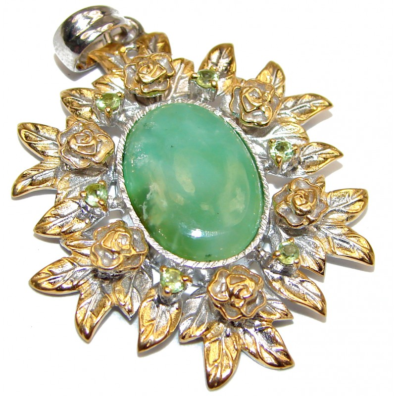 Great Beauty Chrysoprase 18K Gold over .925 Sterling Silver handcrafted Pendant