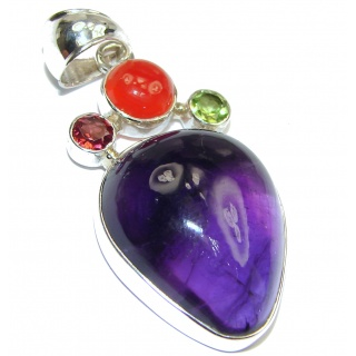 Huge genuine Amethyst .925 Sterling Silver handcrafted pendant