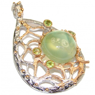 Natural Moss Prehnite 18K Gold over .925 Sterling Silver handmade Pendant