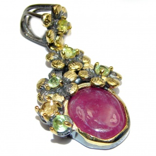 Genuine Ruby 18K Gold over .925 Sterling Silver handmade Pendant