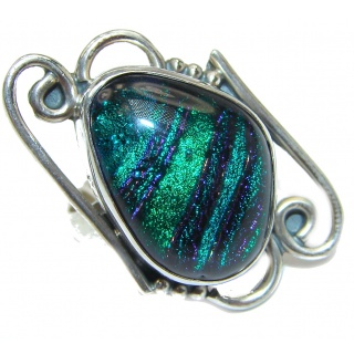 Dichroic Glass .925 Sterling Silver handcrafted Ring s. 8