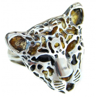 Gephard authentic Baltic Amber .925 Sterling Silver handmade Statement Ring s. 7 adjustable
