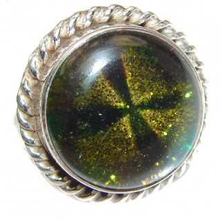 Dichroic Glass .925 Sterling Silver handcrafted Ring s. 6