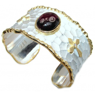 Enchanted Beauty 20ctw Garnet 24K Gold over .925 Sterling Silver antique patina Bracelet / Cuff