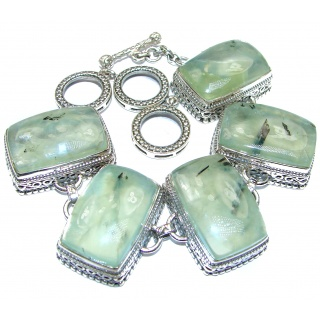 Incredible Genuine Moss Prehnite .925 Sterling Silver handcrafted Bracelet