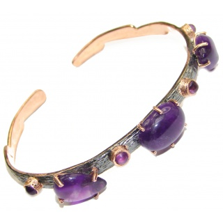 Simple Design Genuine Amethyst Rose Gold over .925 Sterling Silver Bracelet / Cuff