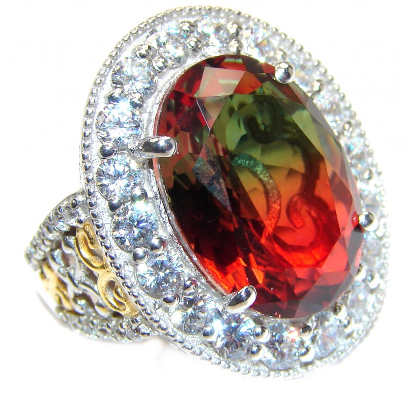 Huge Top Quality Volcanic Tourmaline 18K Gold over .925 Sterling Silver handcrafted Ring s. 8 1/4