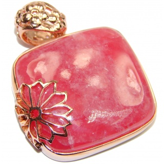 Pure Perfection Genuine Argentinian Rhodochrosite 18K Gold over .925 Sterling Silver handmade Pendant