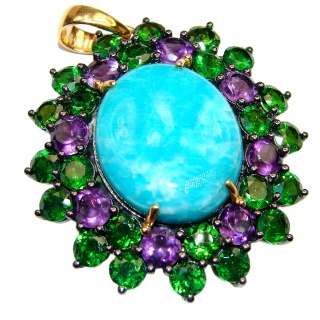 Authentic Caribbean Larimar Chrome Diopside 18K Gold over .925 Sterling Silver handmade pendant