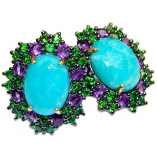 Blue Treasure Larimar Chrome Diopside 18K Gold over .925 Sterling Silver stud earrings