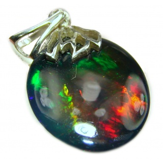 Incredible Authentic 14ctw Black Opal .925 Sterling Silver handmade Pendant