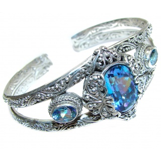 Chunky Luxury Aqua Magic Topaz .925 Sterling Silver handmade Cuff/Bracelet