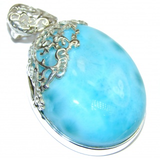 Huge Vintage Design Authentic Caribbean Larimar .925 Sterling Silver handmade pendant