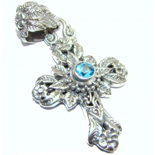 Holy Cross genuine Swiss Blue Topaz .925 Sterling Silver handmade pendant