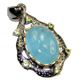 Vintage Design Genuine 35 ctw Aquamarine 18K Gold over .925 Sterling Silver handmade Pendant