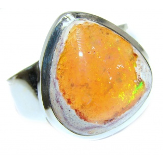 Pure Perfection Genuine Mexican Opal .925 Sterling Silver handmade Ring size 8 3/4