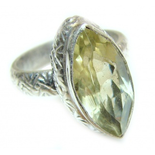 Lemon Quartz .925 Sterling Silver handcrafted ring; s. 6 1/4
