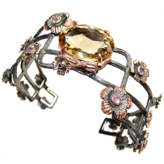 Chunky floral design Genuine Citrine Rose Gold over .925 Sterling Silver Bracelet / Cuff
