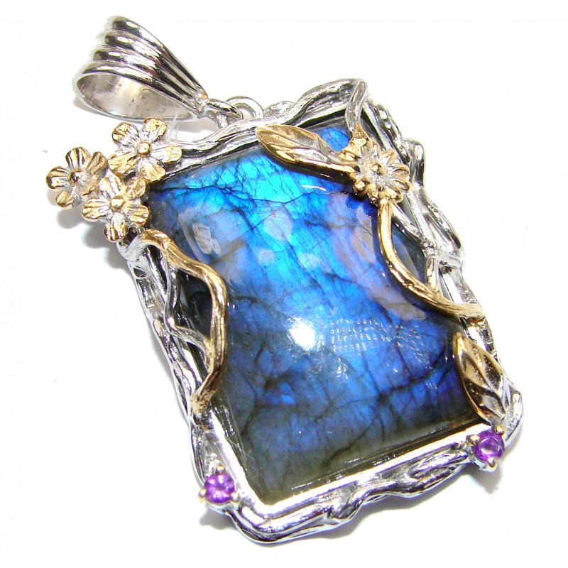 Incredible Fire Labradorite 18K Gold over .925 Sterling Silver handmade Pendant