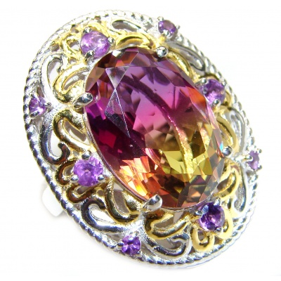 HUGE Oval cut Ametrine 18K Gold over .925 Sterling Silver handcrafted Ring s. 6