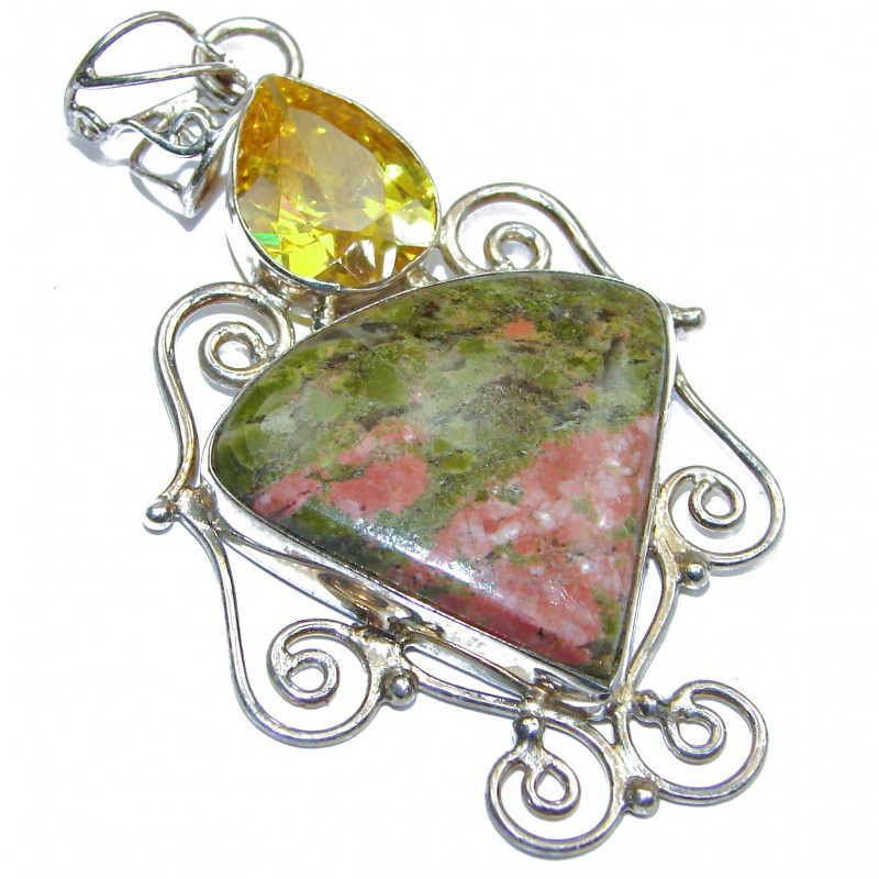 Perfect Harmony Russian Unakite .925 Sterling Silver handmade Pendant