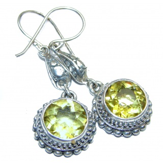 Rare Perception Lemon Quartz .925 Sterling Silver handcrafted earrings