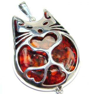 Big CAT Natural Baltic Amber .925 Sterling Silver handmade Pendant