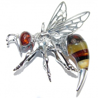 Authentic Masterpiece Honey Bee Baltic Polish Amber .925 Sterling Silver Handmade Pendant
