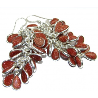 Gorgeous lab. Red sun Sitara .925 Sterling Silver handcrafted Cha- Cha earrings