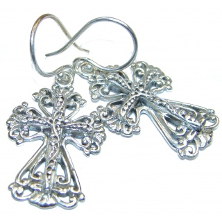 Holy Cross .925 Sterling Silver Bali handmade earrings
