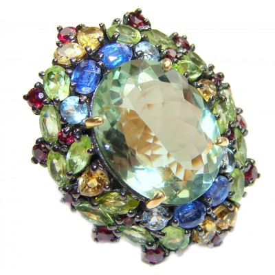 Spectacular Natural Green Amethyst 18K Gold over .925 Sterling Silver handcrafted ring size 6