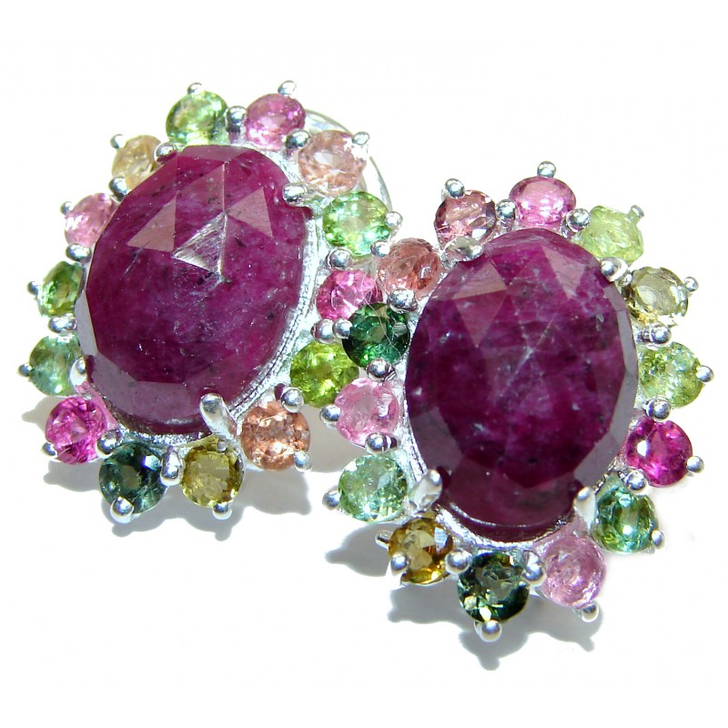 Authentic Ruby Tourmaline .925 Sterling Silver handmade earrings