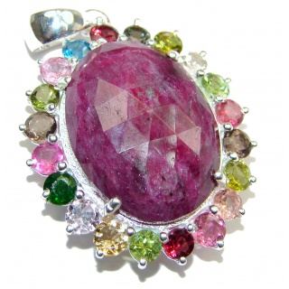 Vintage Design 45ctw Ruby Tourmaline .925 Sterling Silver handmade Pendant