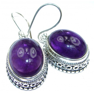 Authentic Huge Amethyst .925 Sterling Silver handmade earrings