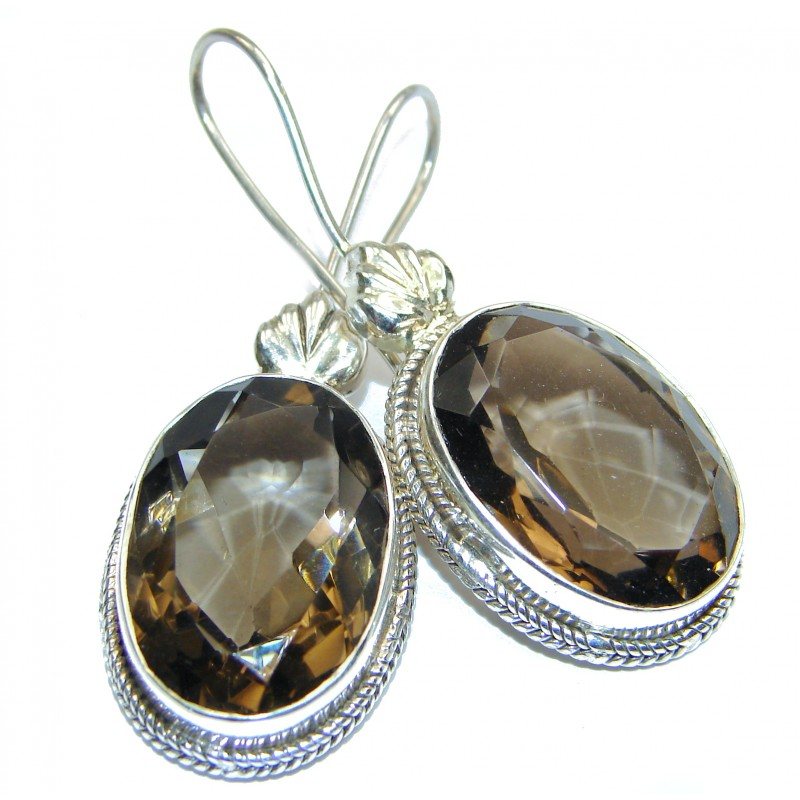 Large Authentic Smoky Topaz .925 Sterling Silver handmade earrings