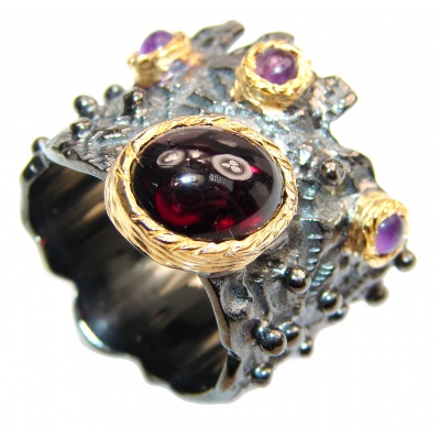 Genuine Garnet 24K Gold .925 Sterling Silver handcrafted Statement Ring size 6 1/4