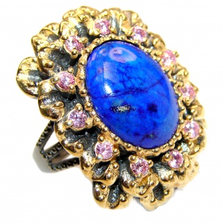 Large Natural Lapis Lazuli 18K Gold over .925 Sterling Silver handcrafted ring size 8 1/4