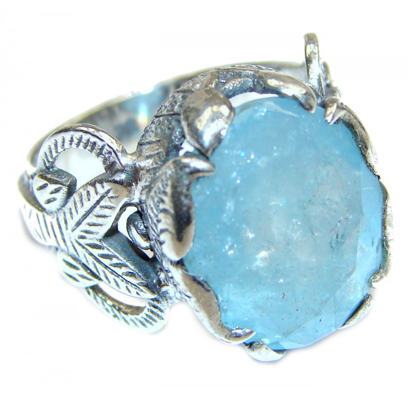 Spectacular genuine Aquamarine .925 Sterling Silver handmade ring s. 7