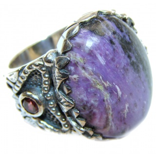 Natural Siberian Charoite 18K Gold Gold over .925 Sterling Silver handcrafted ring size 7