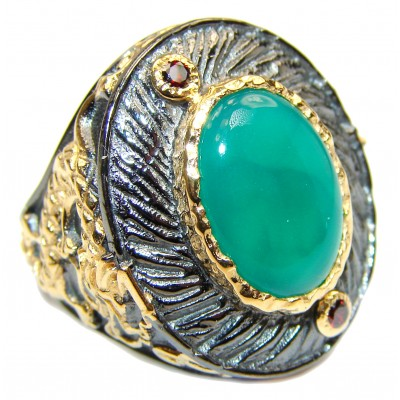 Spectacular Dragon Natural Jade .925 Sterling Silver handmade Statement ring s. 6