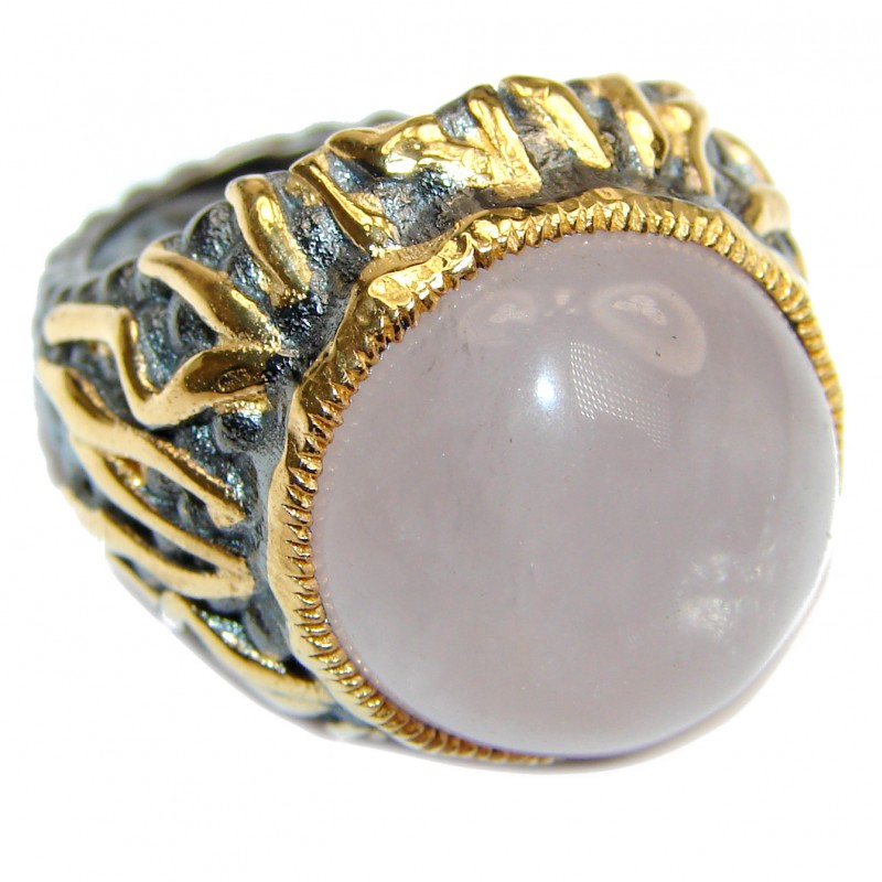 Large Authentic Rose Quartz 18K Gold over .925 Sterling Silver handcrafted ring s. 6 1/4
