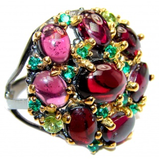 Large Genuine Garnet Emerald .925 Sterling Silver handcrafted Statement Ring size 6 3/4