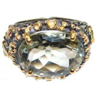 Spectacular Natural Green Amethyst 18K Gold over .925 Sterling Silver handcrafted ring size 7